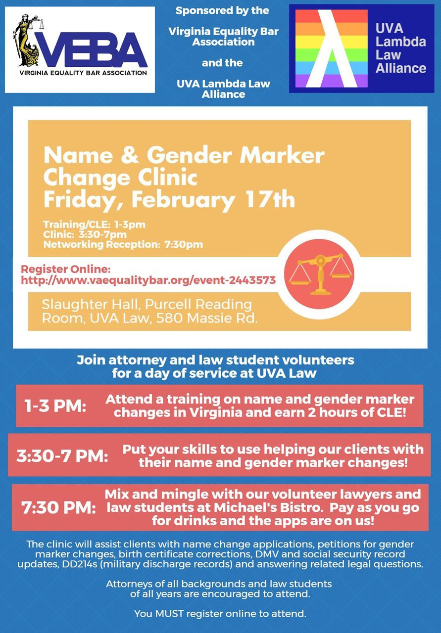 Virginia equality bar association name and gender marker change join veba volunteers for a day of service at the university of virginia school of law this is our first clinic serving the piedmont so we expect a large aiddatafo Gallery